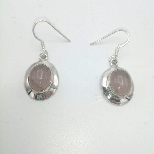 pendientes de cuarzo rosa