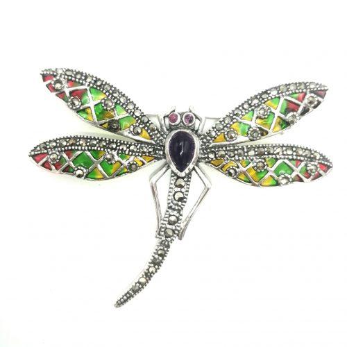 broche de libélula en plata